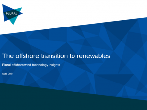 Cover image of Plural Strategy report with text Offshore transition to renewables